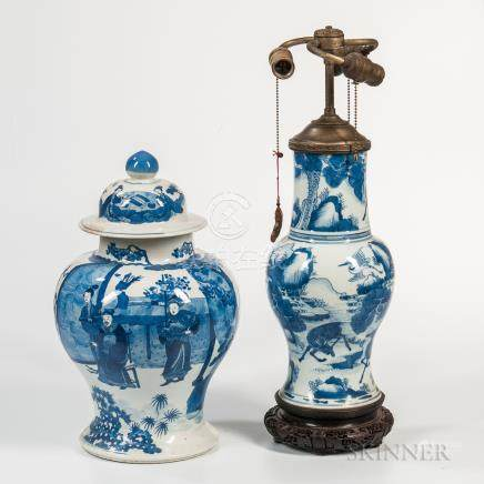 Large Blue and White Covered Ginger Jar and a Lamp Vase, China, 19th/20th century, the jar bulbous