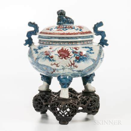 Iron Red-decorated Blue and White Porcelain Tripod Censer and Cover, China, possibly Guangxu period