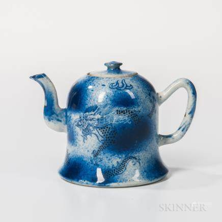 Blue and White Porcelain Teapot, China, Kangxi style, bell-shape, with S-shape spout and D-shape ha