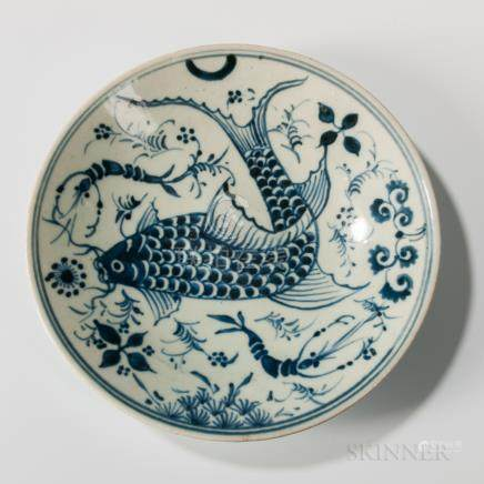 Blue and White Dish, China, Ming dynasty style, decorated with a stylized fish amid shrimp and wate