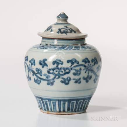 Blue and White Covered Jarlet, China, Ming dynasty style, bulbous, decorated with a foliate scroll