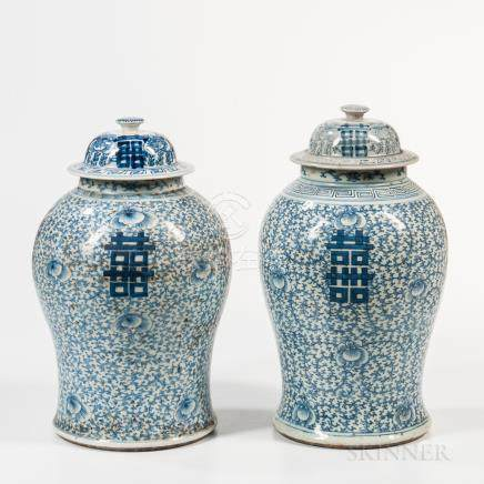 "Pair of Blue and White ""Double Happiness"" Jars and Covers, China, late 19th century, baluster shape"