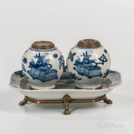 Blue and White Ceramic and Brass-mounted Inkwell, China and Europe, 19th/20th century, two small gl