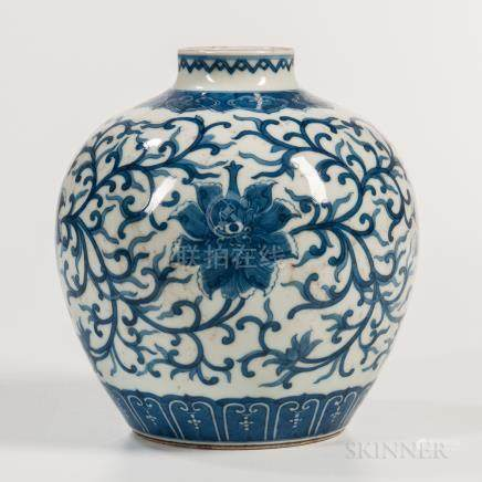 Blue and White Jar, China, 19th/20th century, globular form with short raised neck and rolled mouth