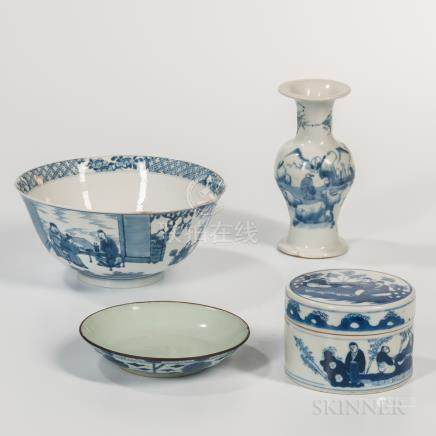 Four Blue and White Porcelain Items, China, a large Kangxi style bowl with a garden scene with figu