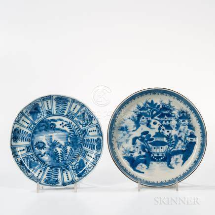 Two Export Blue and White Dishes, China and Japan, a Kraak dish with a floral roundel and diaper ba