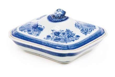 A rectangular entrée dish