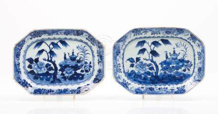 A pair of octogonal dishes