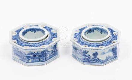 A pair of octagonal inkpots