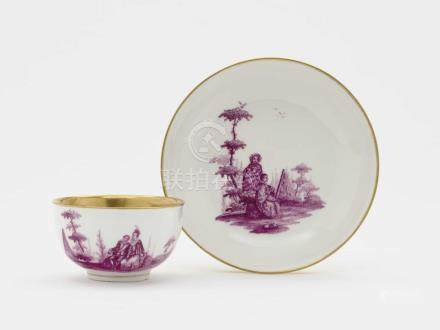 A cup and saucer Meissen, mid 18th century