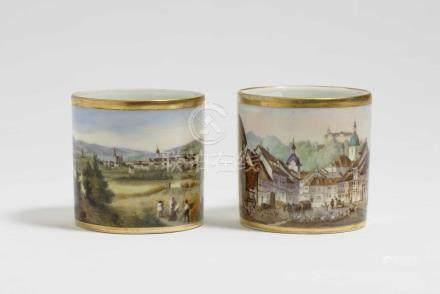 "Two cups with views of \Weimar"" and \""Waltershausen und Ten"