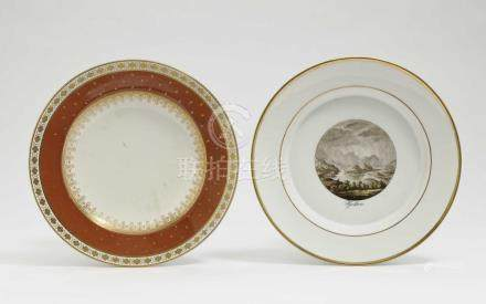 Two plates KPM Berlin and Vienna, early 19th century