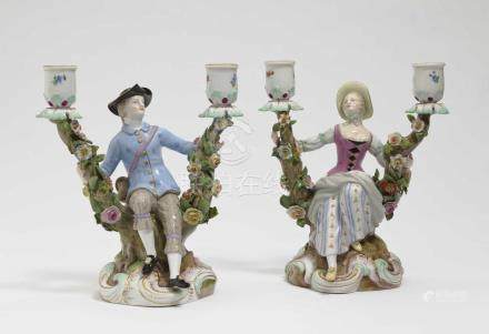 A pair of candlesticks Meissen