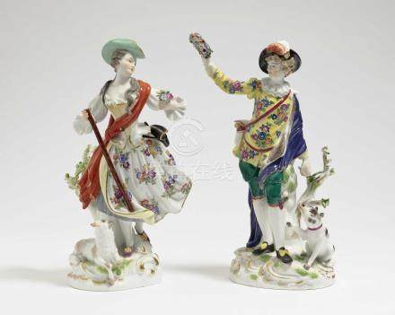 Shepherdess with lamb and shepherd with dog Meissen, after t