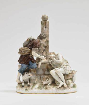 A shepherd and shepherdess at the well Meissen