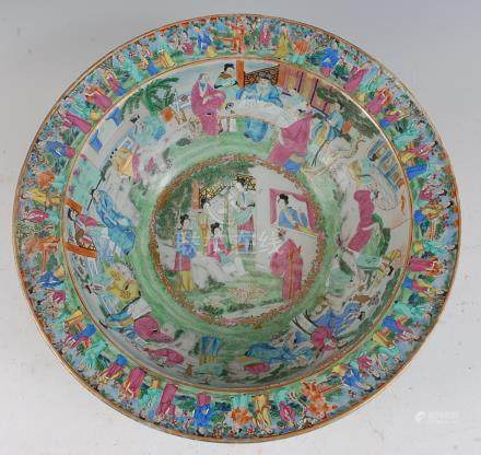 A large 19th century Chinese Canton famille verte bowl, the interior decorated in bright enamels