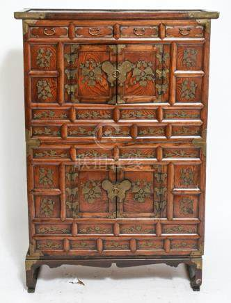 Asian Double Tansu Wedding Wood Chest w Base
