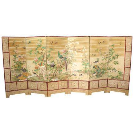Chinese Export Hand-Painted Screen Gouache