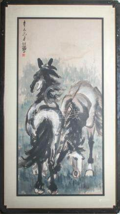 "Xu Beihong ""Two Horses"" Ink & Watercolor on Paper"