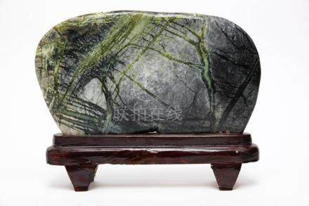 Chinese Scholar's Rock on Polished Wood Stand