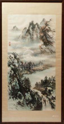 Chinese Inks on Paper Landscape Scroll Painting