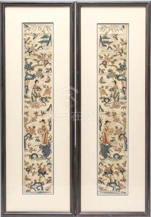 Chinese Qing Dyn Silk Embroidered Sleeve Bands, Pr