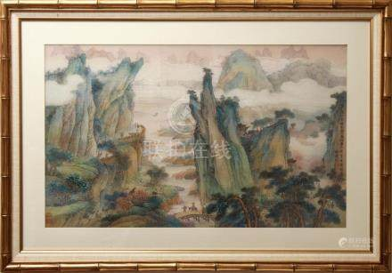 Chinese Mountain Landscape Figures Gouache on Silk