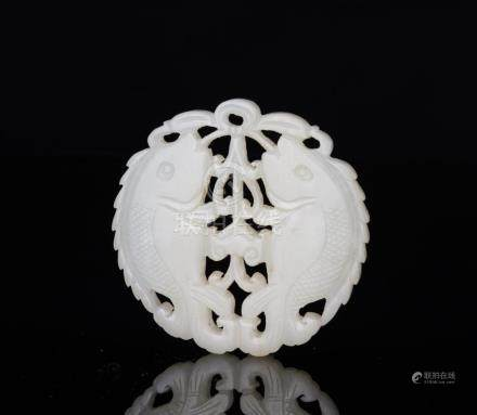 A White Jade Carved 'Double Fish' Pendant