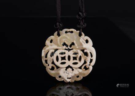 Qing-A White Jade Carved 'Coun And Double Bat'Pendant