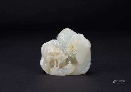 Qing-A Fine White Jade 'Scholar' Boulder With Imperial Poem