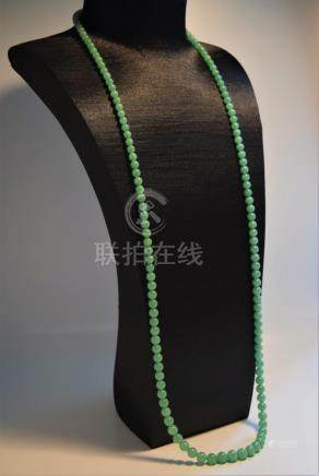 Very rare and fine bright green Jadeite round bead necklace
