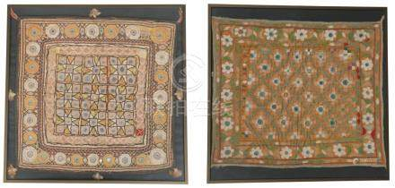 Two embroidered laps with embedded mirrors. India.