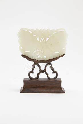 Chinese White Jade Handling Piece on stand, carved and pierced with moth 9cm length