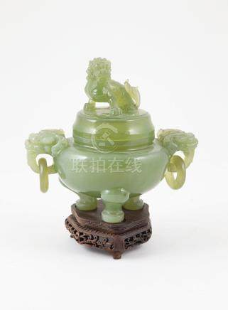 Chinese Green Jade Censor and Cover traditional form with dragon mask ring handles, and dragon cover