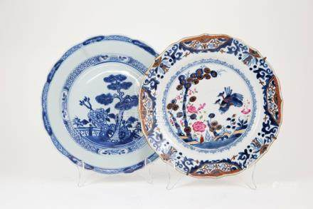Late C18th Export Plate under glaze blue decoration of exotic birds and florals, famille rose