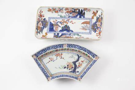 C19th Japanese Arita Dish shaped rectangular together with other dish, both painted in thee