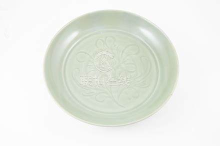 Chinese Celadon Shallow Dish stylised floral spray to surface as in the Yuan Dynasty manner 34cm
