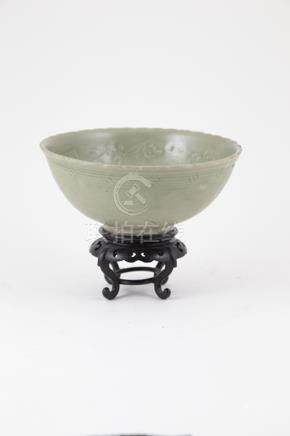 Chinese Celadon Bowl in the Sung Dynasty manner with very shallow floral decorations, restored