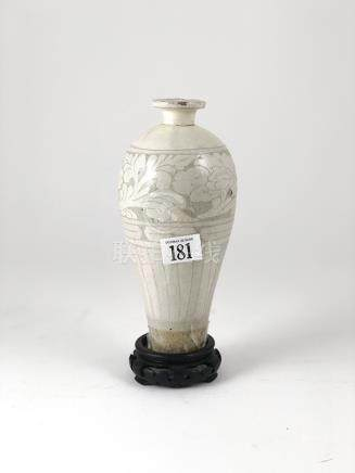 Chin Dynasty Tz'u-chou Mei Ping Vase of traditional style with white celadon glaze 20cm height