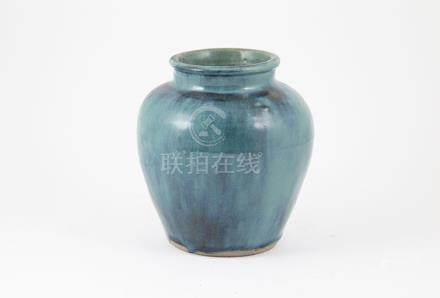 Antique Thai Ru Type Glazed Pot of traditional form with poured turquoise glaze
