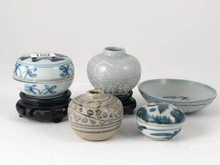 Five Provincial Ming Ointment Pots and Boxes under glazed blue, buff and celadon