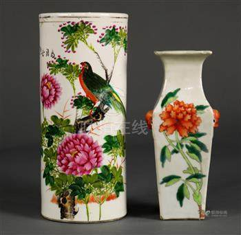 (lot of 2) Group of Chinese porcelain: the first, a square sectioned baluster vase with peonies