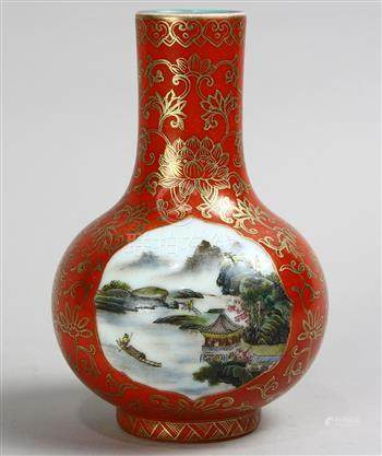 Chinese enameled porcelain vase, with a stickneck and the globular body with two riverside landscape
