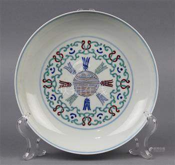 Chinese doucai porcelain plate, with 'shou' emblem in various scripts accented by scroll tendrils,