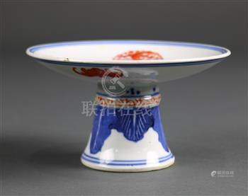Chinese porcelain footed dish, with four dragon roundels in red encircling a jewel at the center,