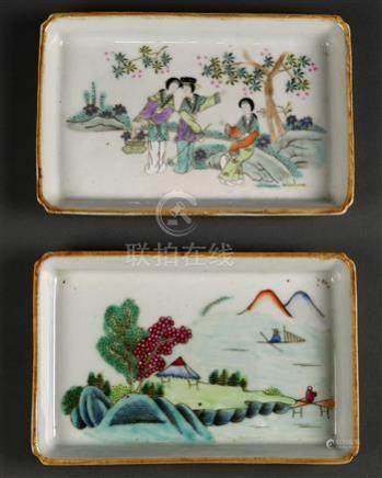 (lot of 2) Chinese porcelain trays, of rectangular form, one featuring three beauties in a garden