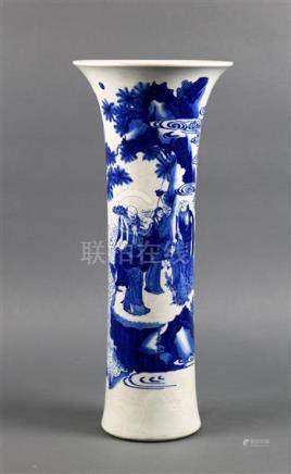 Chinese underglaze blue porcelain vase, of trumpet form featuring a group of people gathering at the