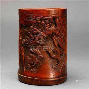 Chinese bamboo brush pot, carved and pierced with a pair of cranes below a gnarled pine tree,