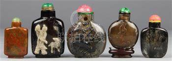 (lot of 5) Chinese stone snuff bottles: first, of rutilated quartz (hair crystal) with a flattened