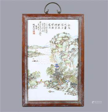 Chinese enameled porcelain plaque, painted with a riverside landscape with figures and pavillions,